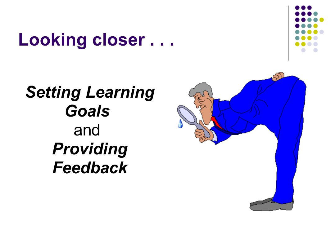 Setting Learning Goals and Providing Feedback