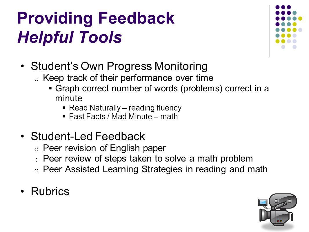 Providing Feedback Helpful Tools