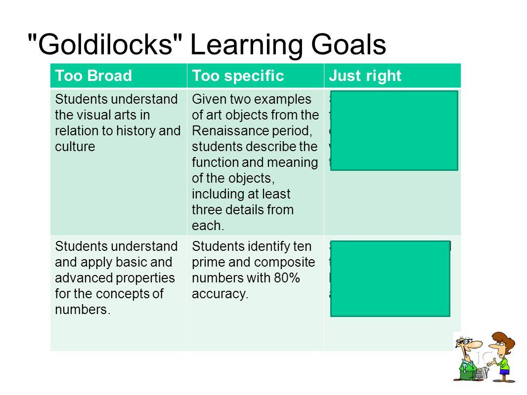 Goldilocks Learning Goals