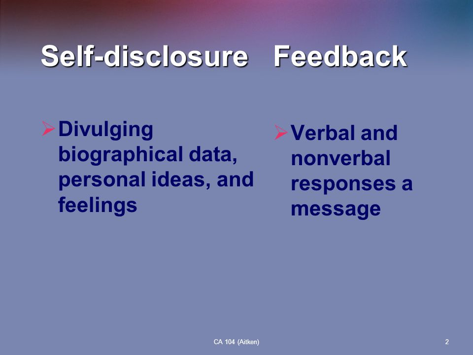 Self-disclosure Feedback