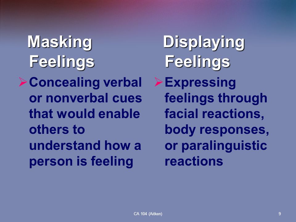 Masking Feelings Displaying Feelings