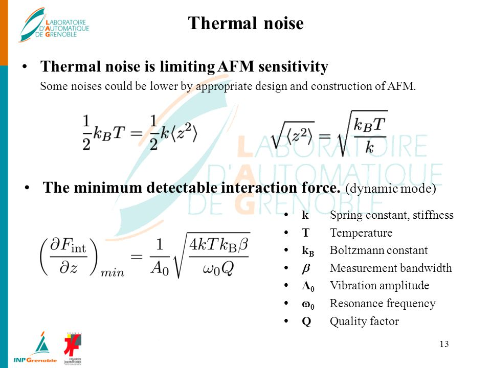 Thermal noise Thermal noise is limiting AFM sensitivity