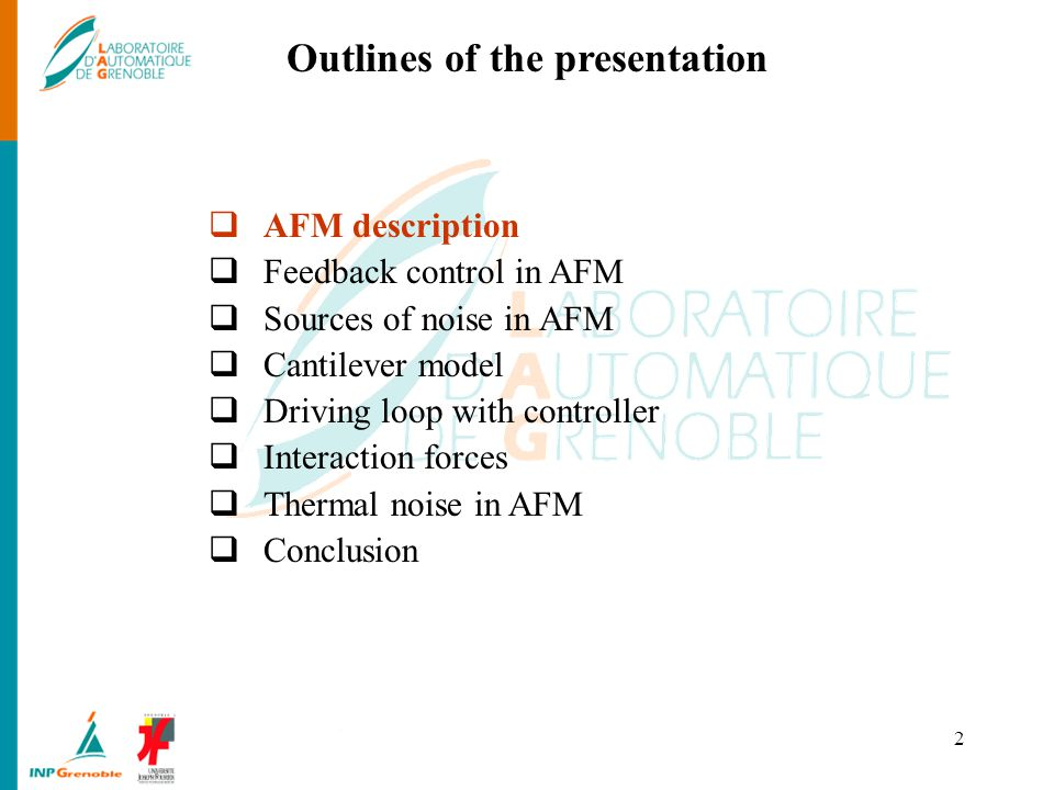 Outlines of the presentation