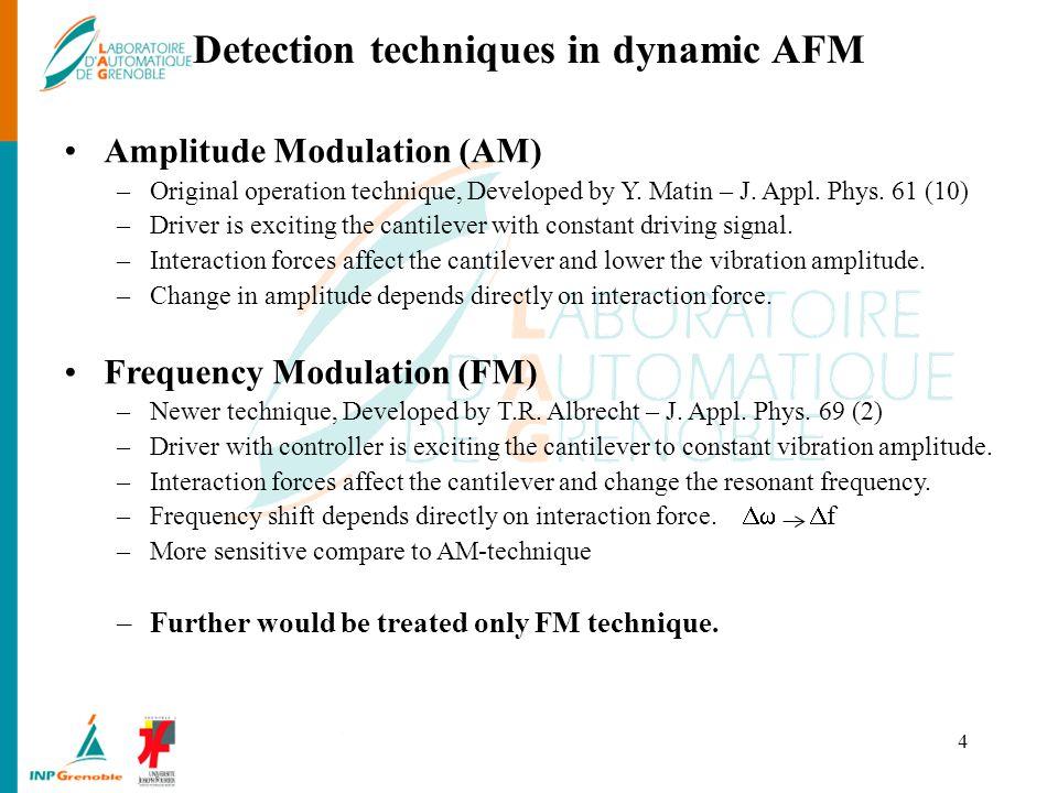 Detection techniques in dynamic AFM