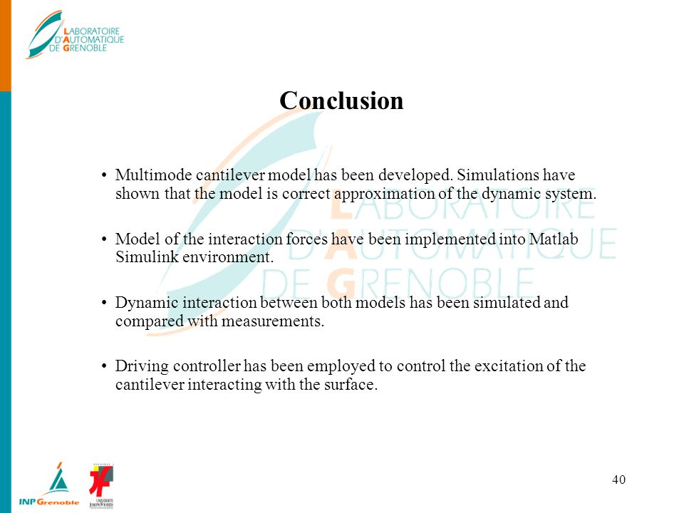 Conclusion Multimode cantilever model has been developed. Simulations have shown that the model is correct approximation of the dynamic system.