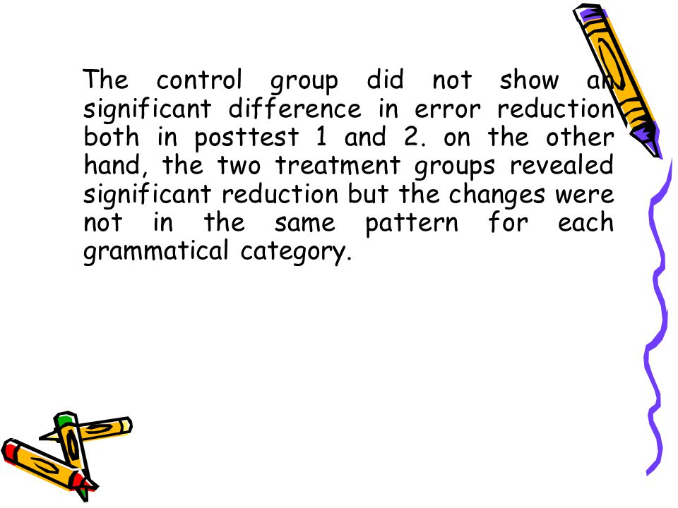 The control group did not show an significant difference in error reduction both in posttest 1 and 2.