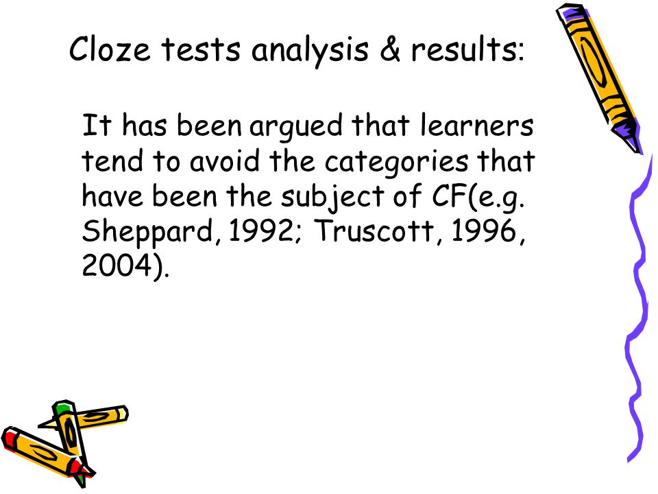 :Cloze tests analysis & results