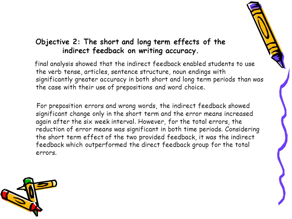 Objective 2: The short and long term effects of the indirect feedback on writing accuracy.