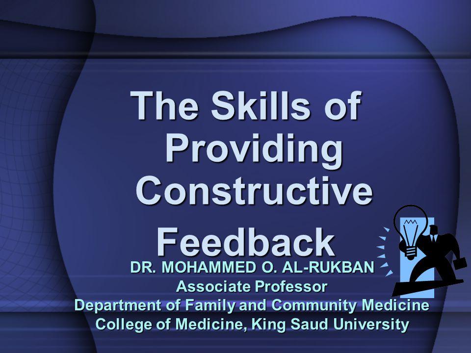 The Skills of Providing Constructive Feedback