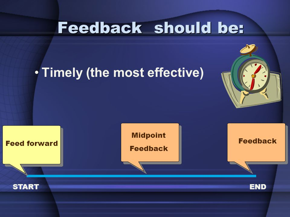 Feedback should be: Timely (the most effective) Midpoint Feedback