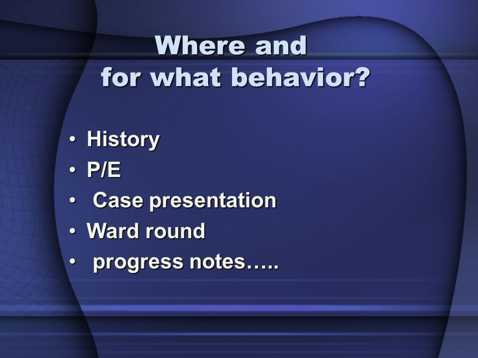 Where and for what behavior