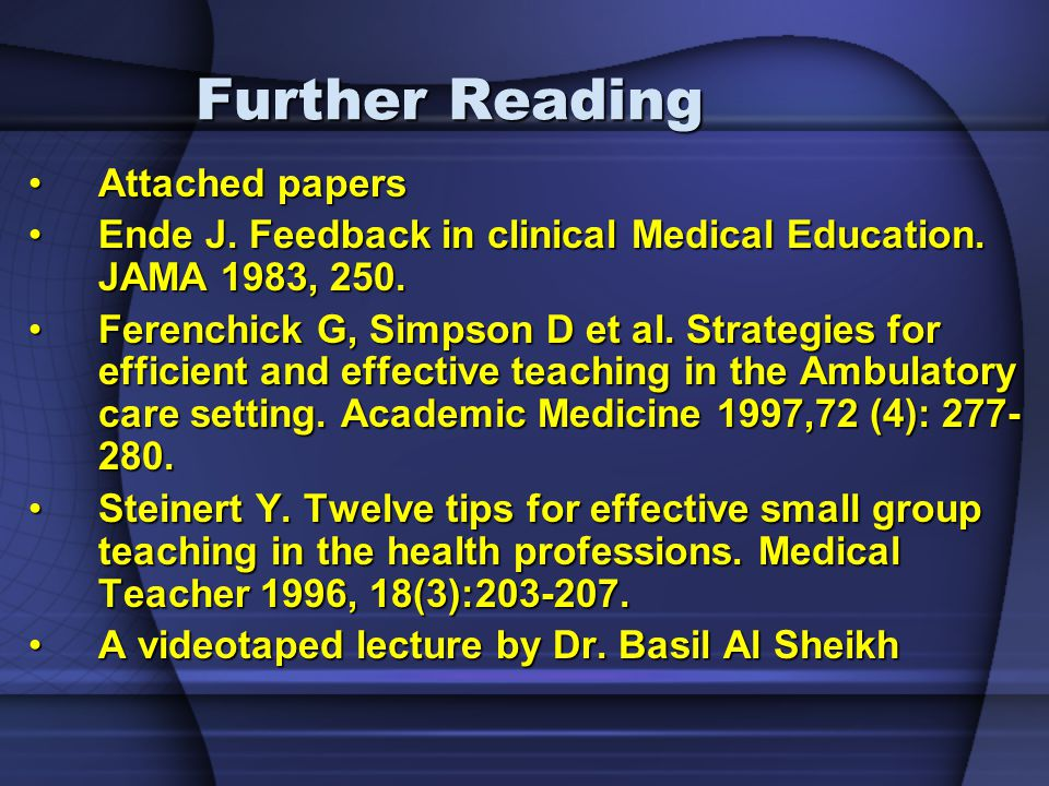 Further Reading Attached papers