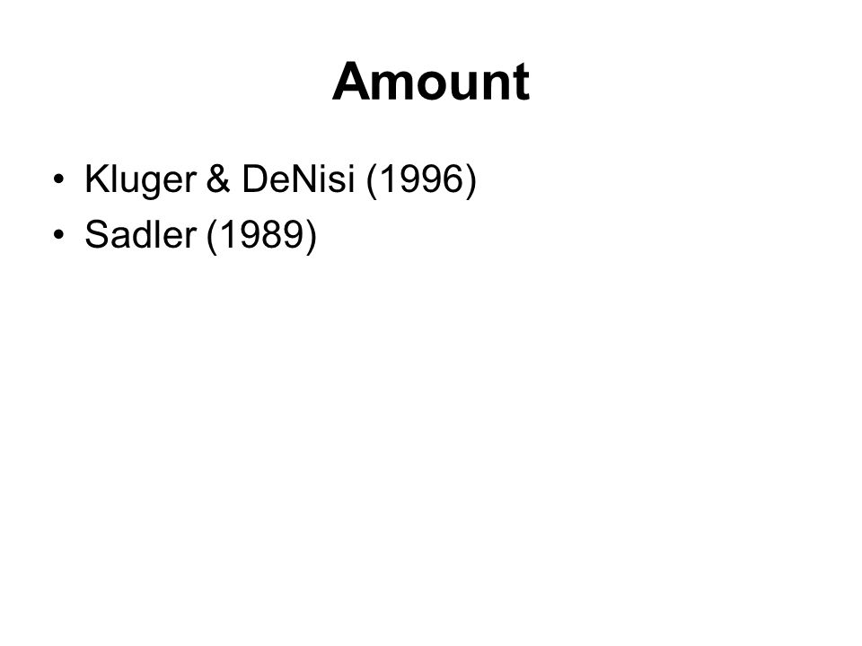 Amount Kluger & DeNisi (1996) Sadler (1989)