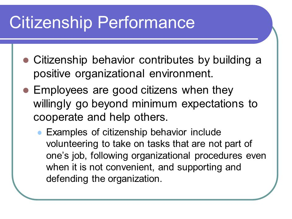 Citizenship Performance