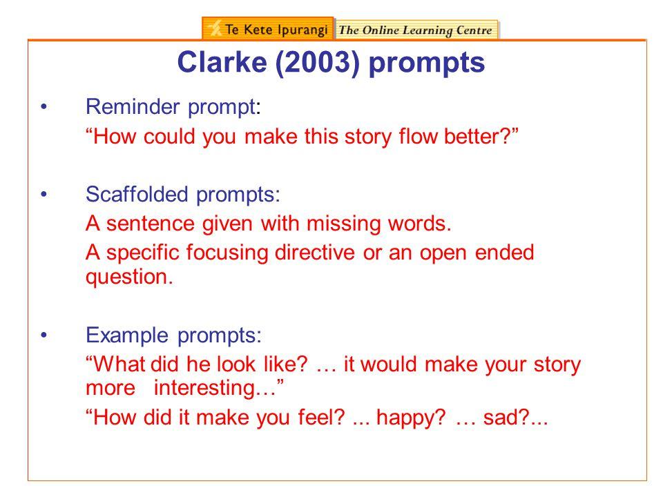 Clarke (2003) prompts Reminder prompt:
