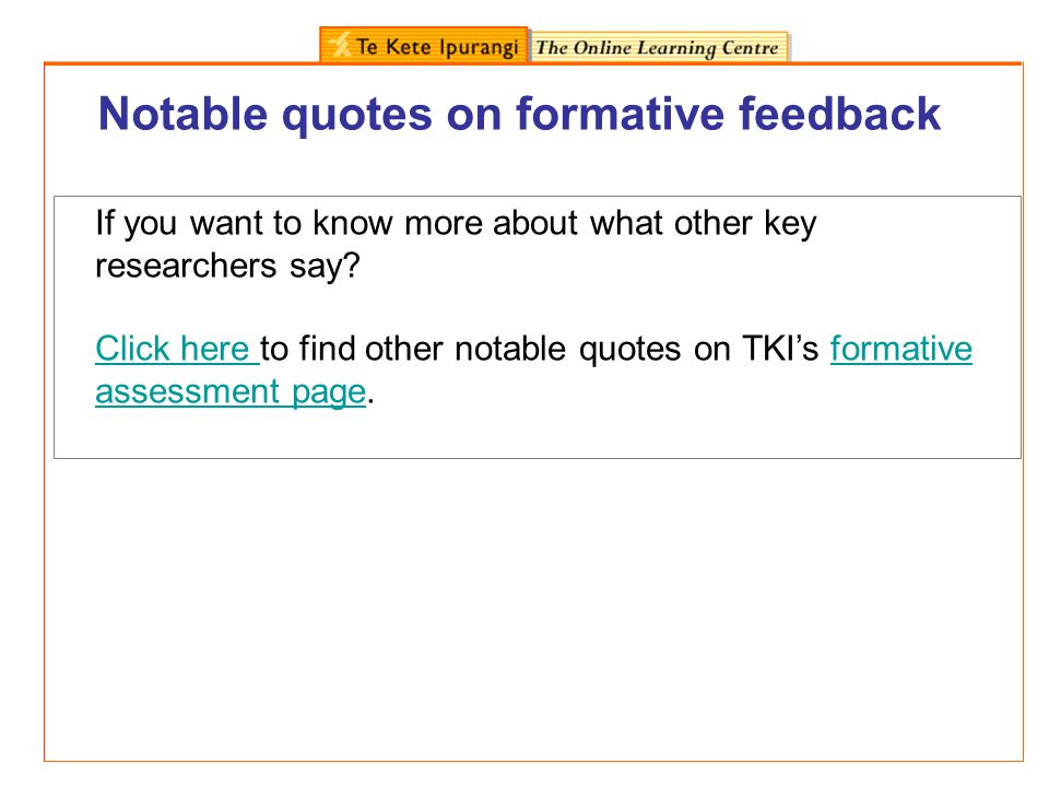 Notable quotes on formative feedback