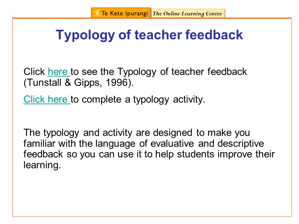 Typology of teacher feedback