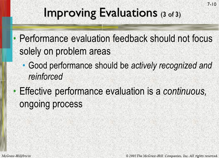 Improving Evaluations (3 of 3)