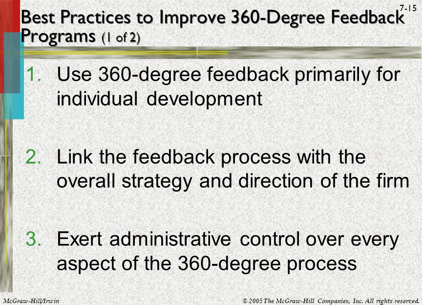 Best Practices to Improve 360-Degree Feedback Programs (1 of 2)