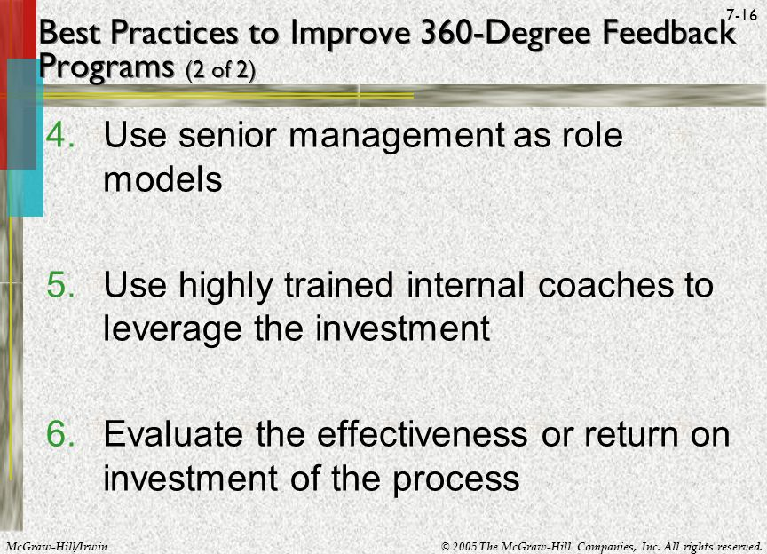 Best Practices to Improve 360-Degree Feedback Programs (2 of 2)
