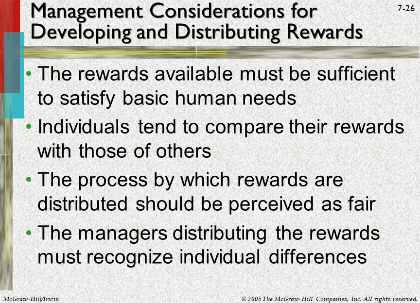 Management Considerations for Developing and Distributing Rewards