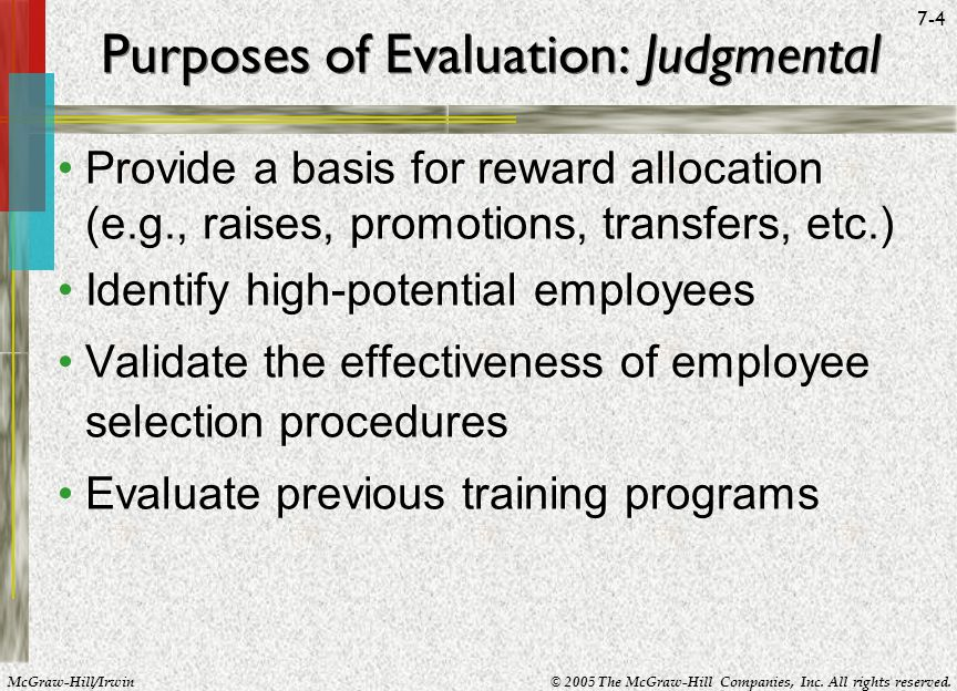 Purposes of Evaluation: Judgmental