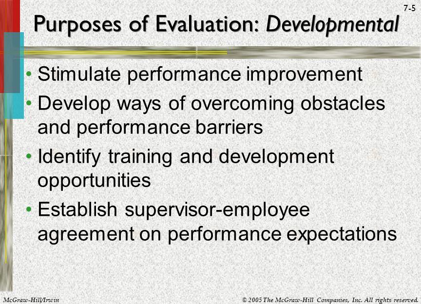 Purposes of Evaluation: Developmental