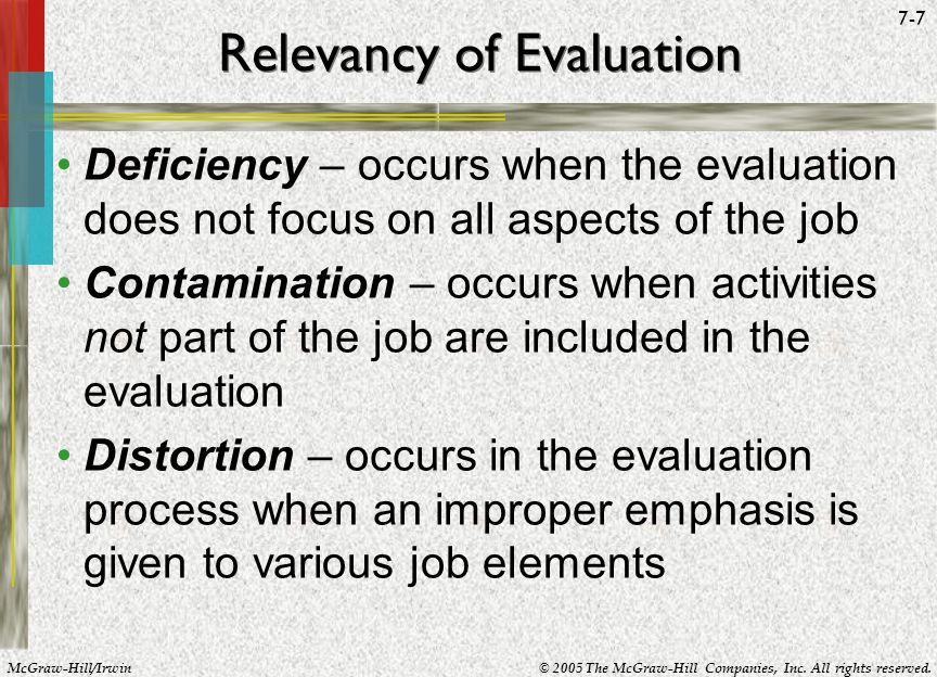 Relevancy of Evaluation
