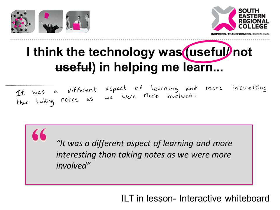 I think the technology was (useful/ not useful) in helping me learn...