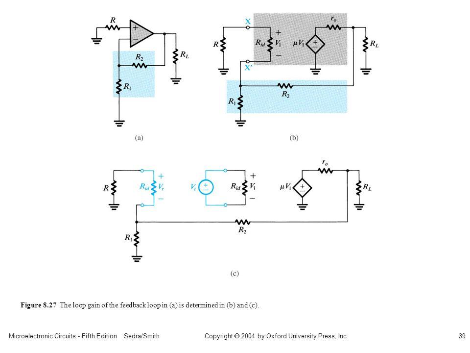 sedr42021_0827a.jpg Figure 8.27 The loop gain of the feedback loop in (a) is determined in (b) and (c).
