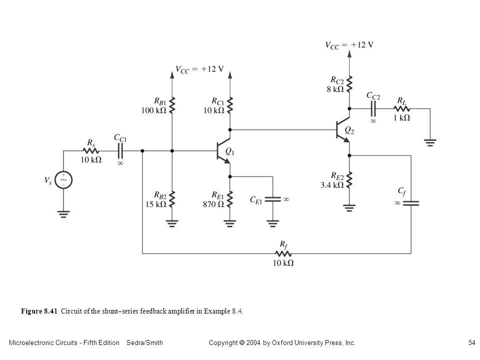 sedr42021_0841.jpg Figure 8.41 Circuit of the shunt–series feedback amplifier in Example 8.4.