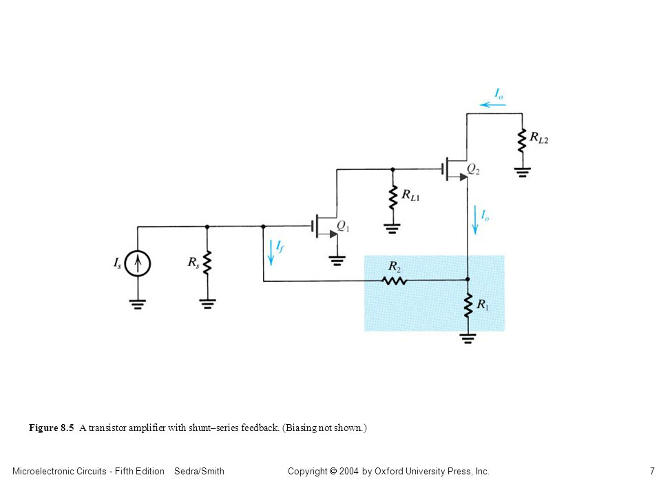sedr42021_0805.jpg Figure 8.5 A transistor amplifier with shunt–series feedback.