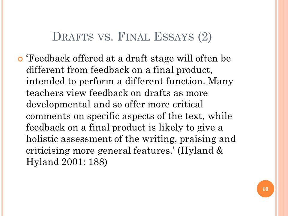 Drafts vs. Final Essays (2)