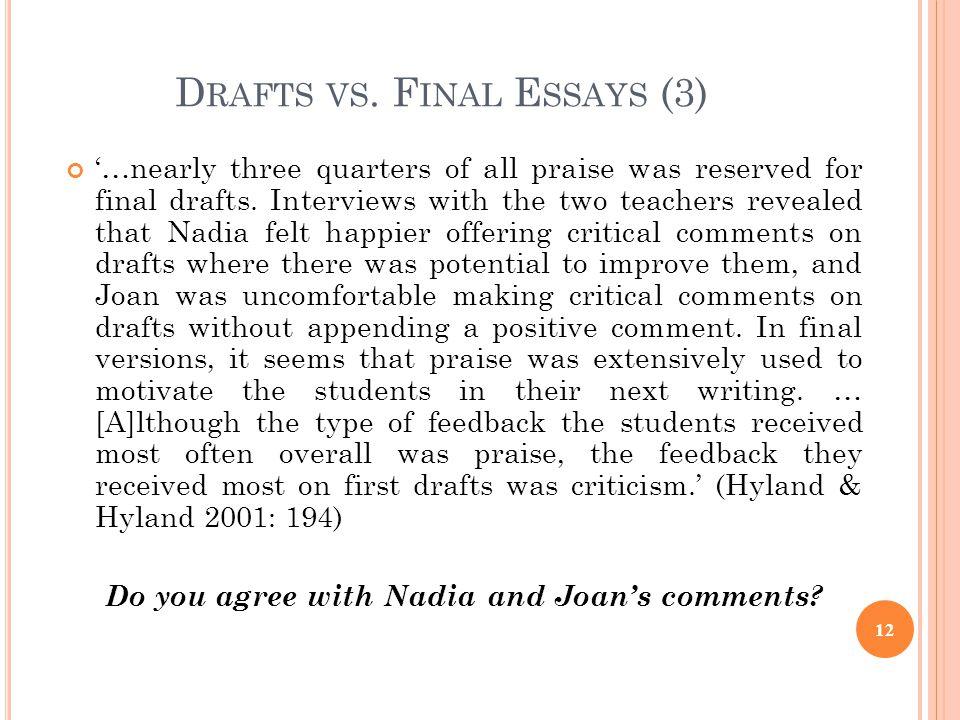 Drafts vs. Final Essays (3)