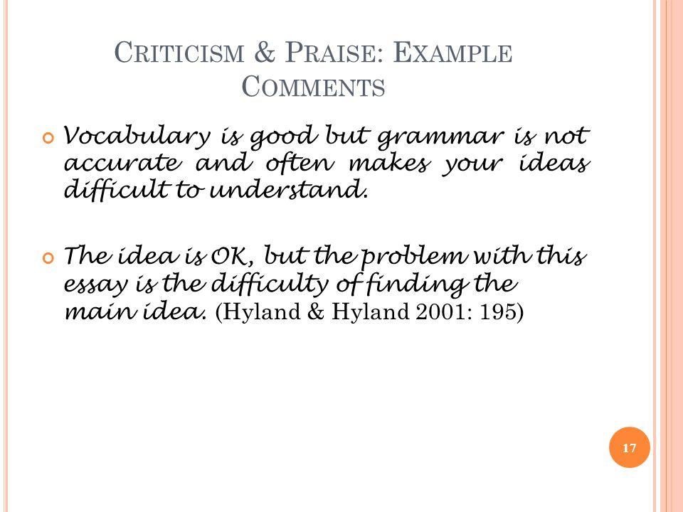Criticism & Praise: Example Comments