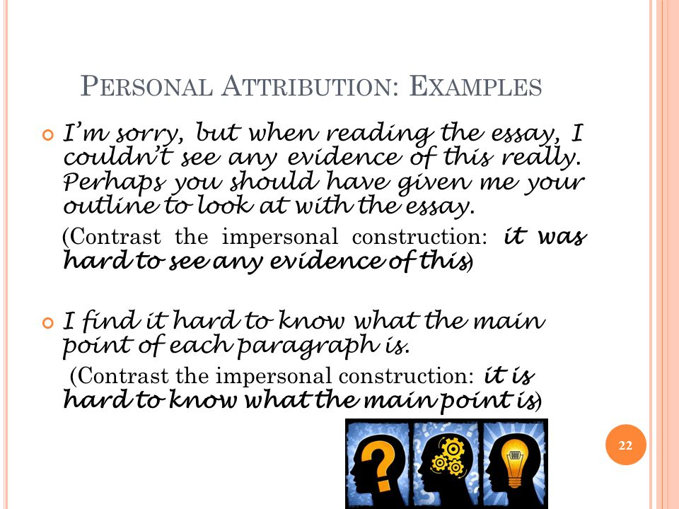 Personal Attribution: Examples