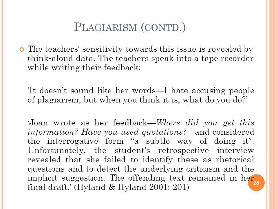Plagiarism (contd.)