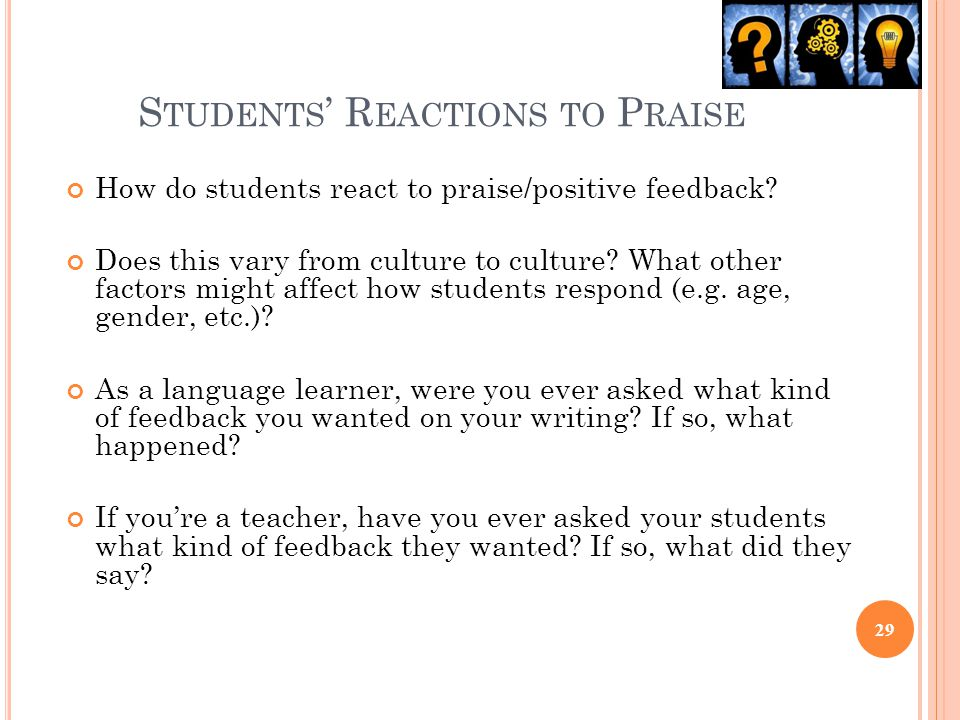 Students' Reactions to Praise