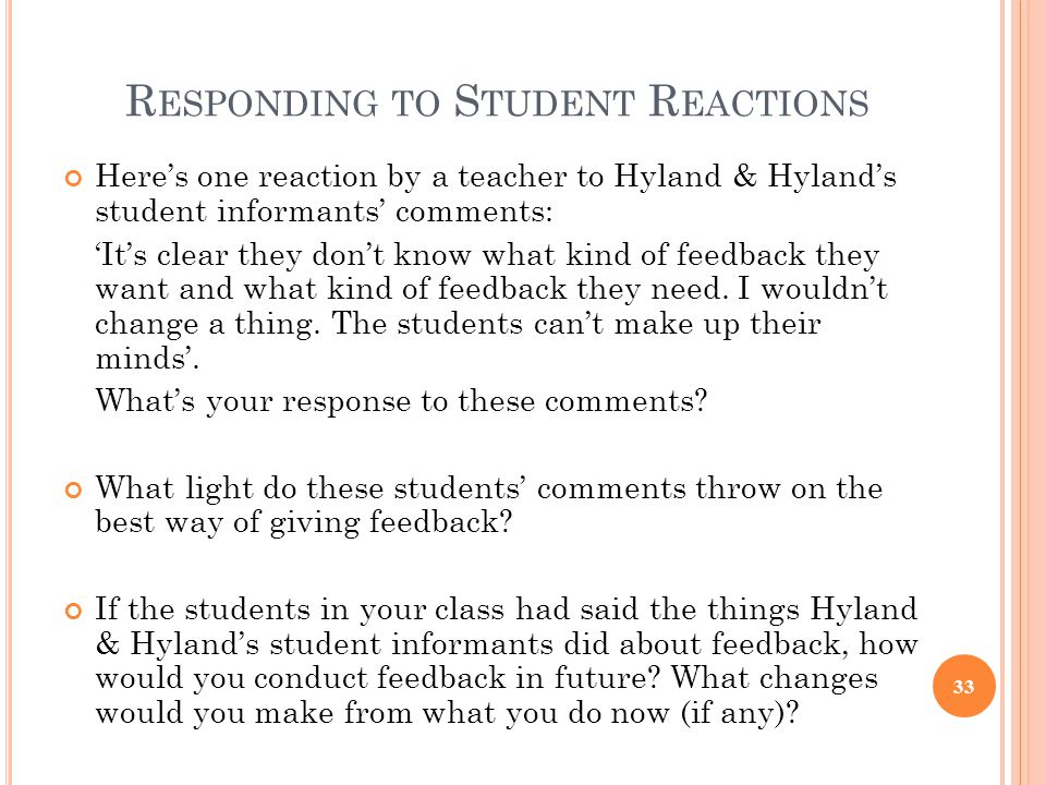 Responding to Student Reactions
