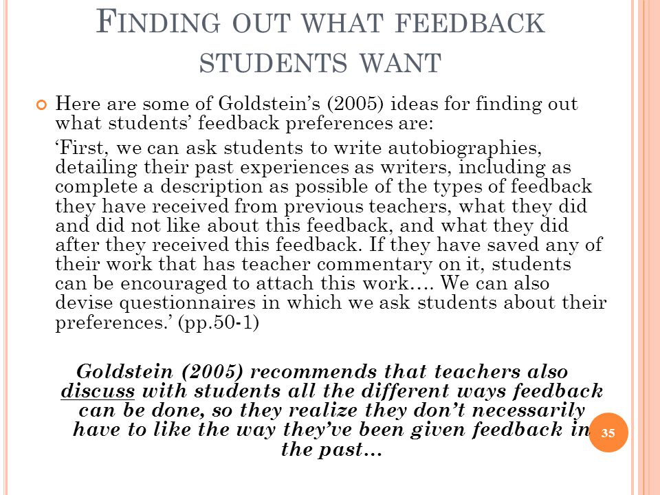 Finding out what feedback students want
