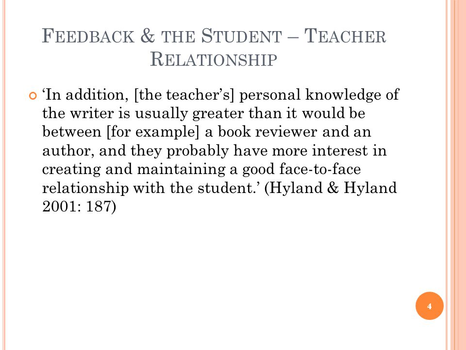 Feedback & the Student – Teacher Relationship