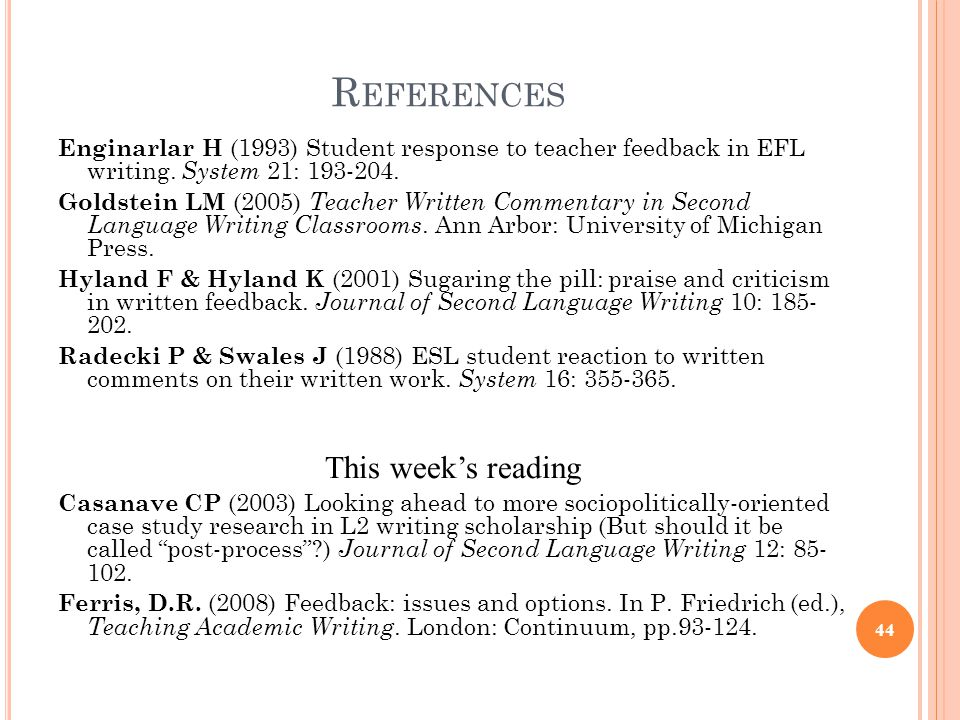 References This week's reading