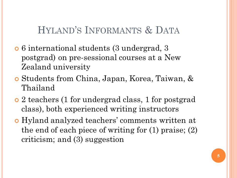 Hyland's Informants & Data