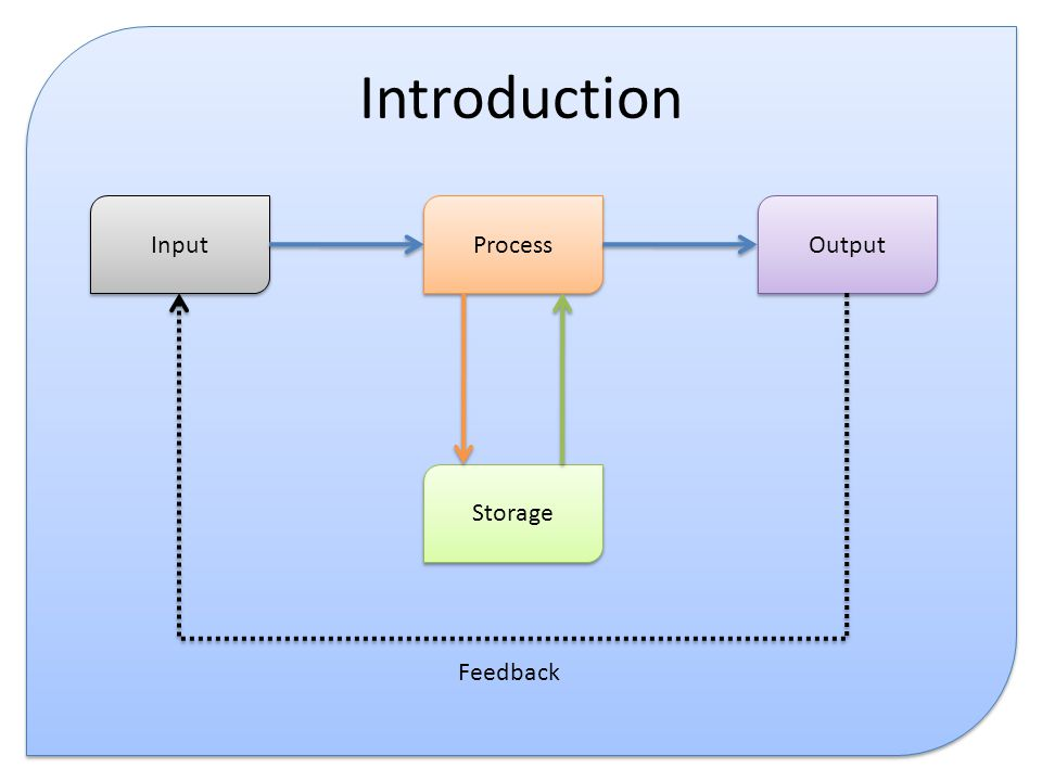 Introduction Input Process Output Storage Feedback