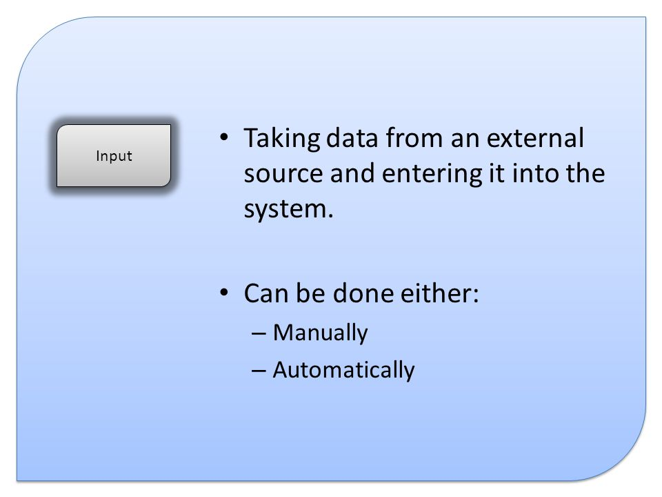 Taking data from an external source and entering it into the system.