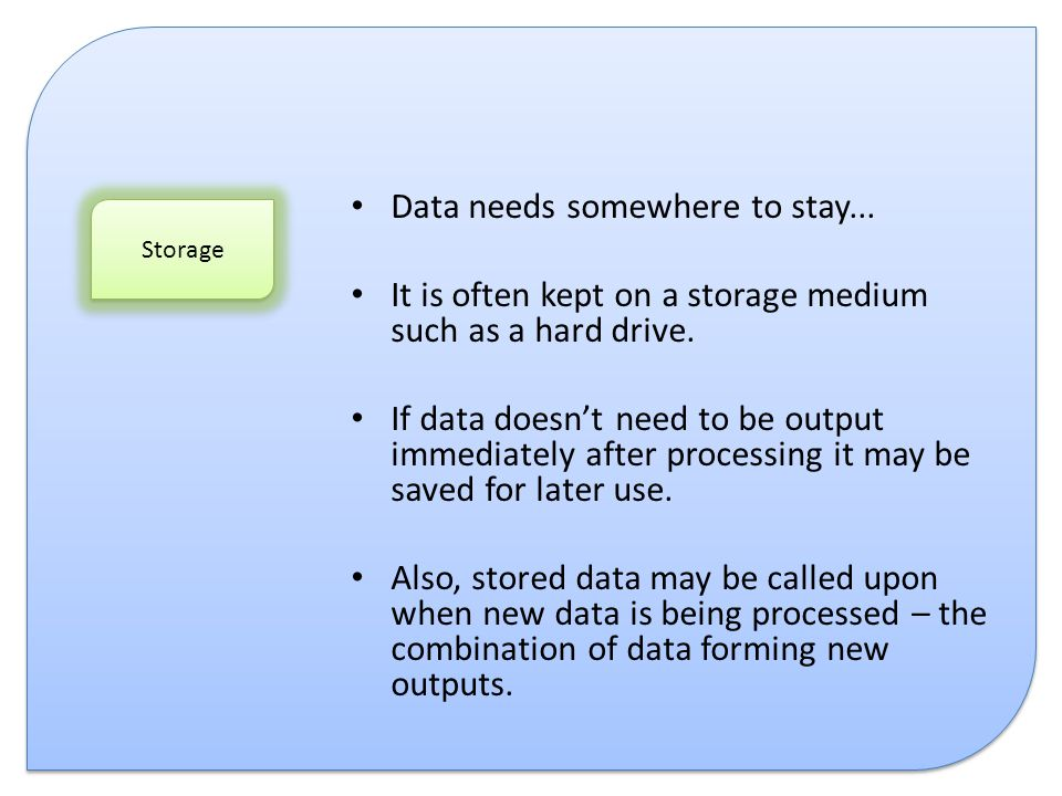 Data needs somewhere to stay...