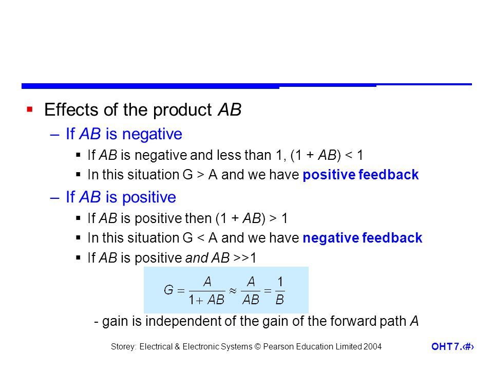 Effects of the product AB