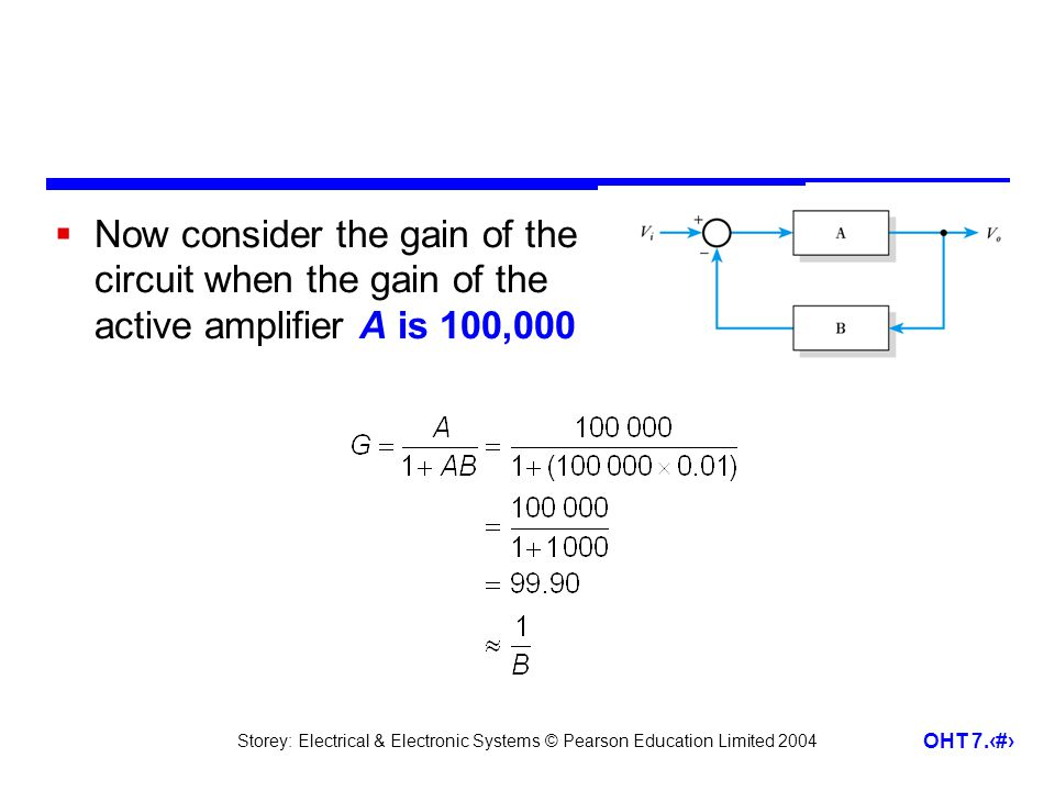 Now consider the gain of the circuit when the gain of the active amplifier A is 100,000