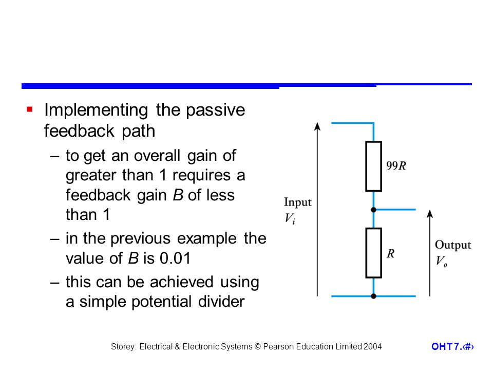 Implementing the passive feedback path