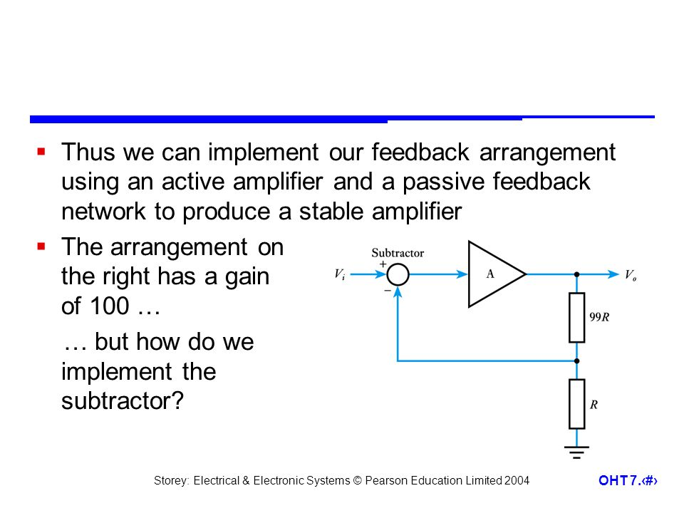 Thus we can implement our feedback arrangement using an active amplifier and a passive feedback network to produce a stable amplifier